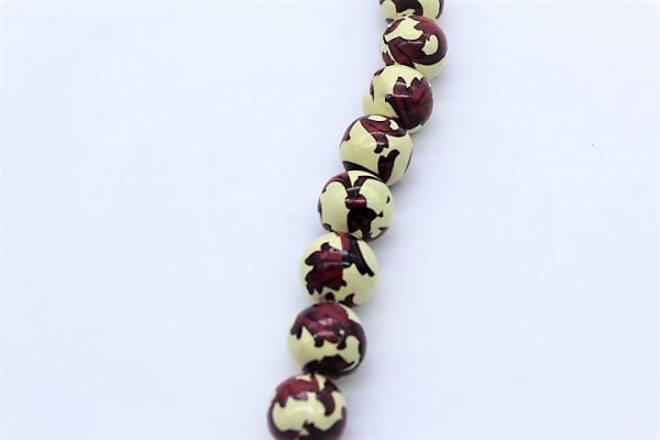 Handmade Paper Round Beads, Bordo / Cream
