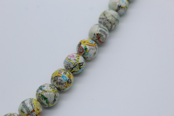 Handmade Paper Round Beads MAP.ca. 15 mm