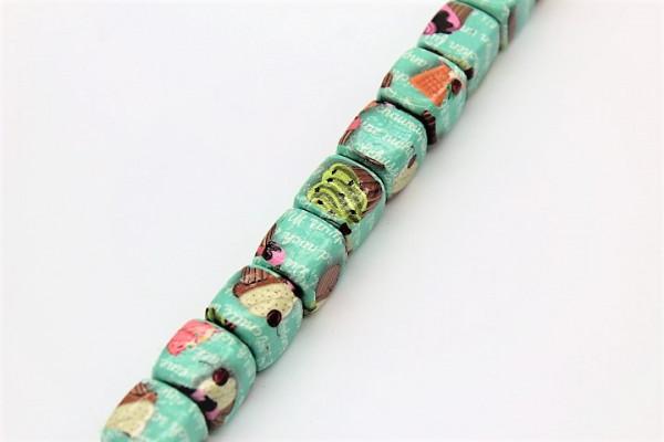 Handmade Paper Beads DICE ca. 20 mm CUPCAKE