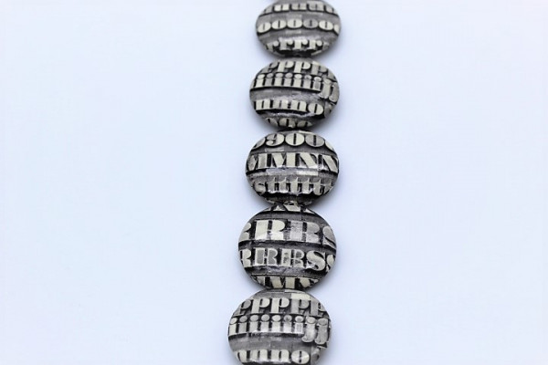 Handmade Paper Beads UFO Big letters, Black / White