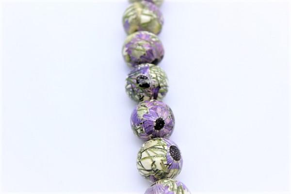 Handmade Paper Round Beads Purple Flower