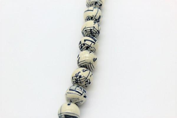 Handmade Paper Beads round music notes