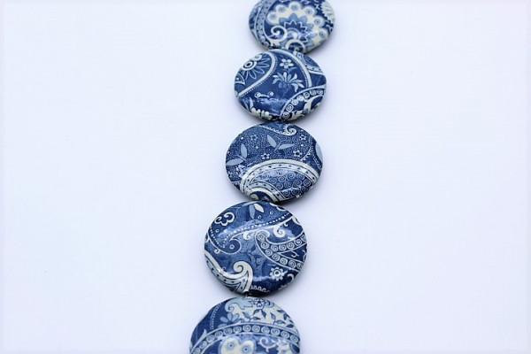 Handmade Paper Beads UFO ca.25 mm Batik Blue